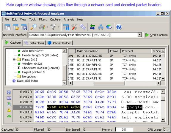 SoftPerfect Network Protocol Analyzer Screenshot