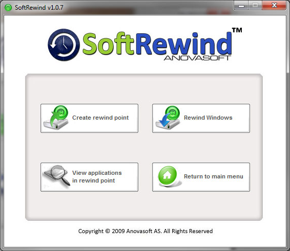 SoftRewind Home Edition, Security Software Screenshot