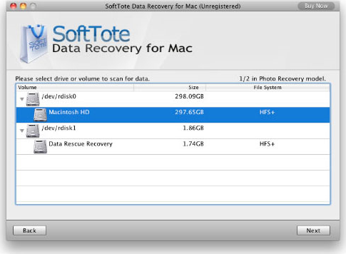 Softtote Data Recovery for Mac, Recovery Software Screenshot