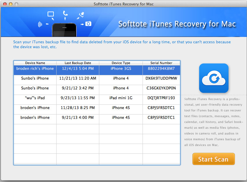 Softtote iTunes Recovery for Mac Screenshot