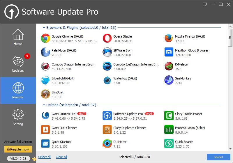 Software Update Pro, System Tweaker Software Screenshot