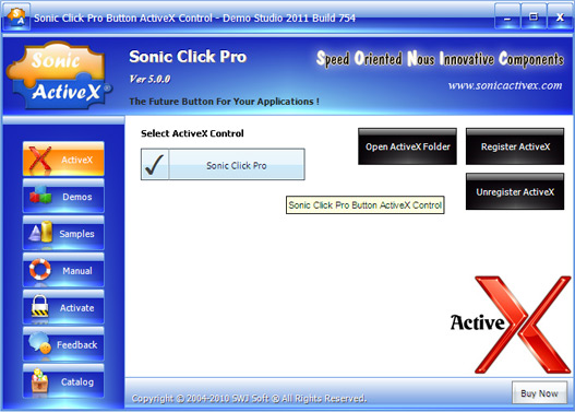 Sonic Click Pro Button ActiveX Control Screenshot