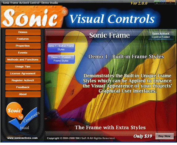 Sonic Frame ActiveX Control Screenshot