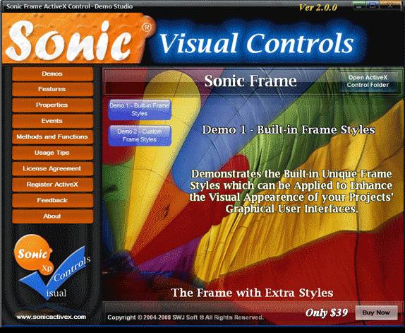 Sonic Frame ActiveX Control Screenshot