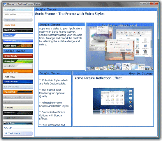 Sonic Frame ActiveX Control - Development Tools Software for PC