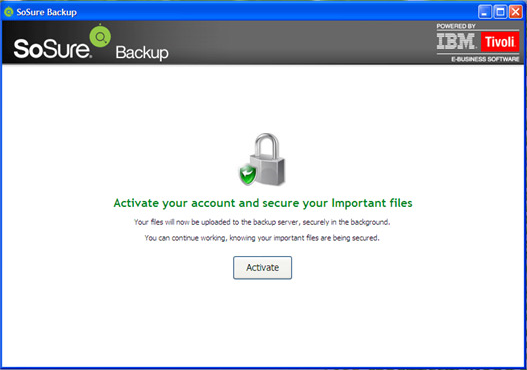 SoSure - Online Backup, Security Software Screenshot