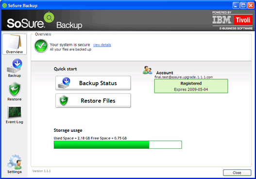 Backup Cloud Software, SoSure - Online Backup Screenshot