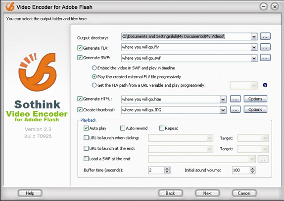 Sothink Video Encoder for Adobe Flash, Video Converter Software Screenshot