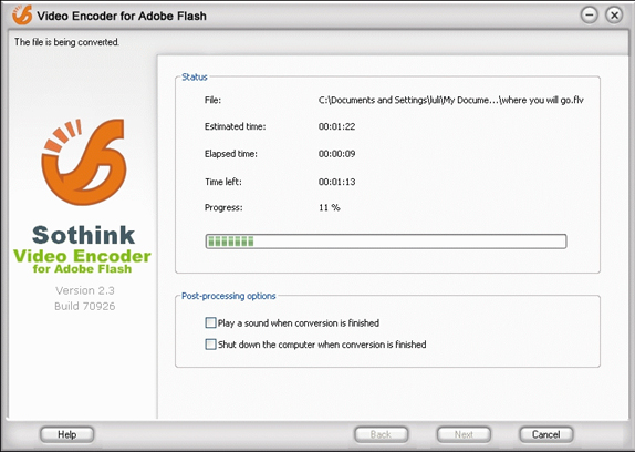 Video Converter Software, Sothink Video Encoder for Adobe Flash Screenshot