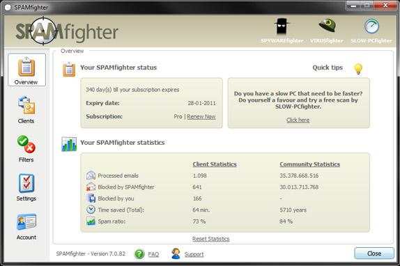 SPAMfighter Pro Screenshot
