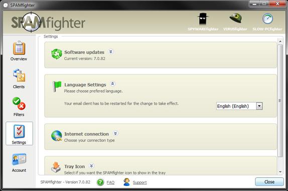 SPAMfighter Pro, Internet Software Screenshot