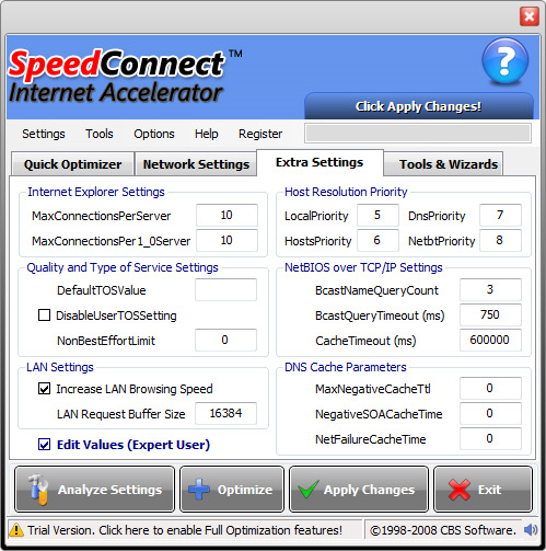SpeedConnect Internet Accelerator, Software Utilities Screenshot