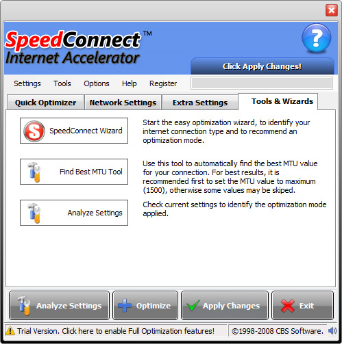 PC Optimization Software, SpeedConnect Internet Accelerator Screenshot