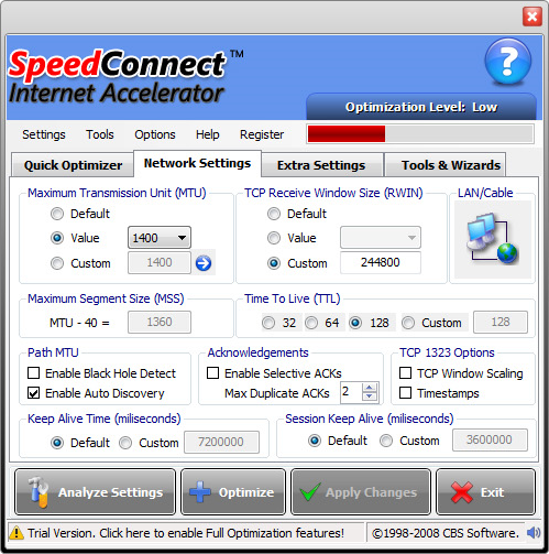 SpeedConnect Internet Accelerator, PC Optimization Software Screenshot