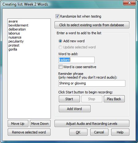 SpellQuizzer Spelling Software, Educational Software Screenshot