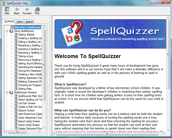 SpellQuizzer Spelling Software, Hobby, Educational & Fun Software Screenshot