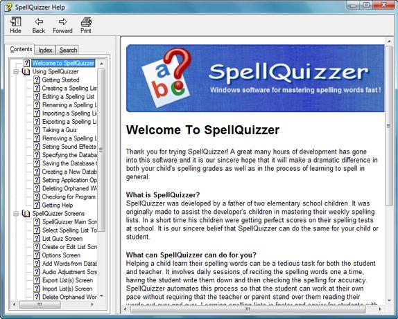 SpellQuizzer Spelling Software, Hobby, Educational & Fun Software Screenshot