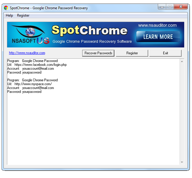 SpotChrome Password Recovery Screenshot