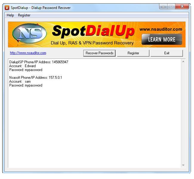SpotDialup Password Recover Screenshot