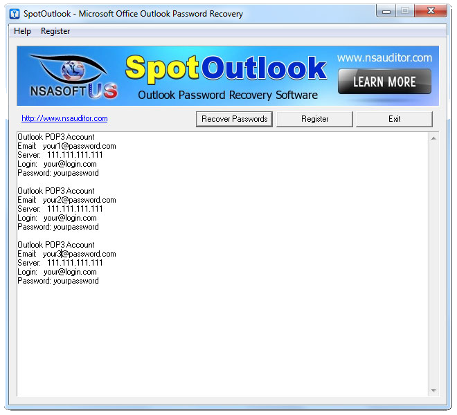 SpotOutlook Password Recovery Screenshot
