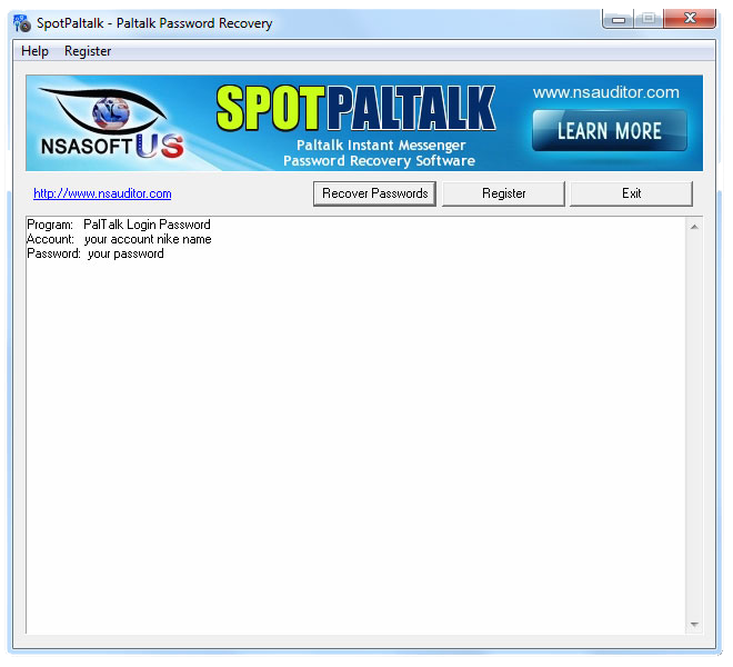 SpotPaltalk Password Recovery Screenshot