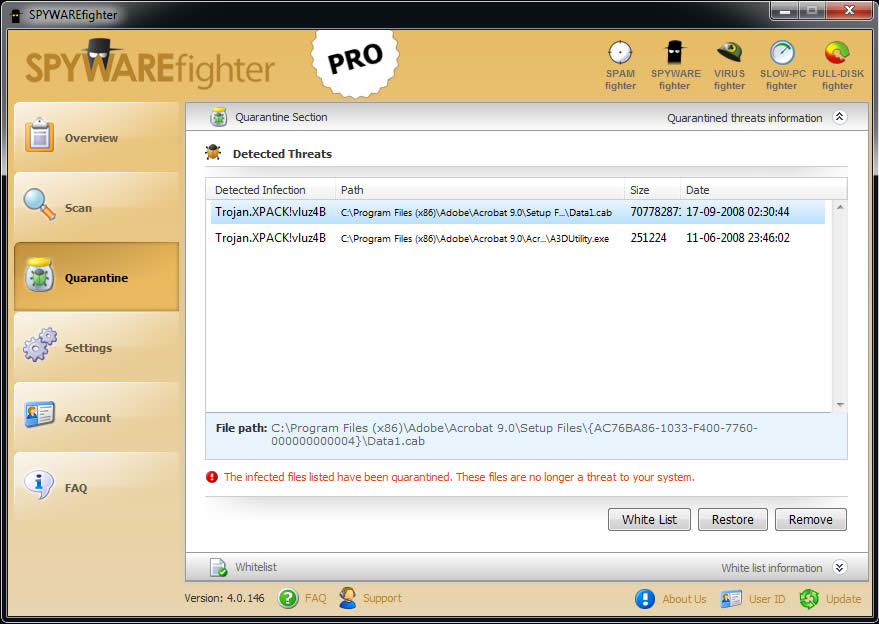 SPYWAREfighter, Antivirus Software Screenshot