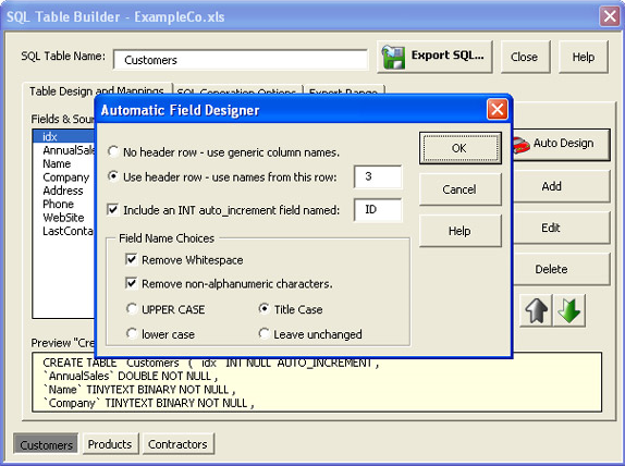 SQL Converter for Excel, Database Conversion Software Screenshot