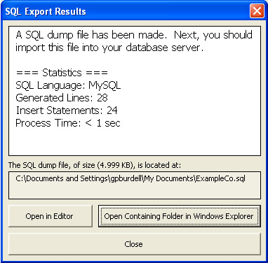 Development Software, SQL Converter for Excel Screenshot