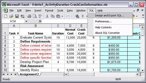 SQL Converter for Excel Screenshot