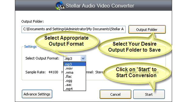 Stellar Audio Video Converter, Audio Conversion Software Screenshot