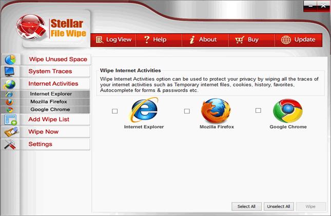 Stellar File Wipe Windows, PC Optimization Software Screenshot