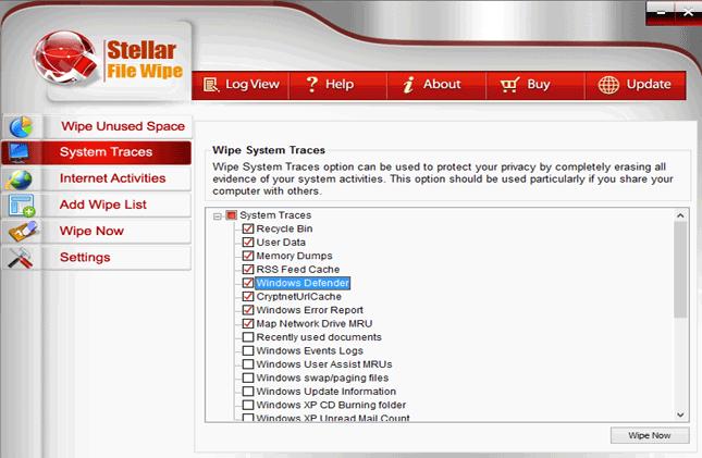 PC Optimization Software, Stellar File Wipe Windows Screenshot