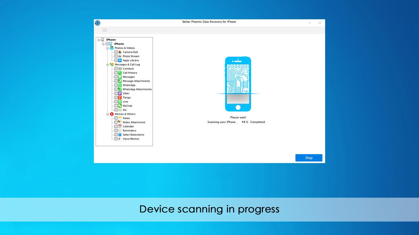 Stellar Data Recovery for iPhone, Access Restriction Software Screenshot