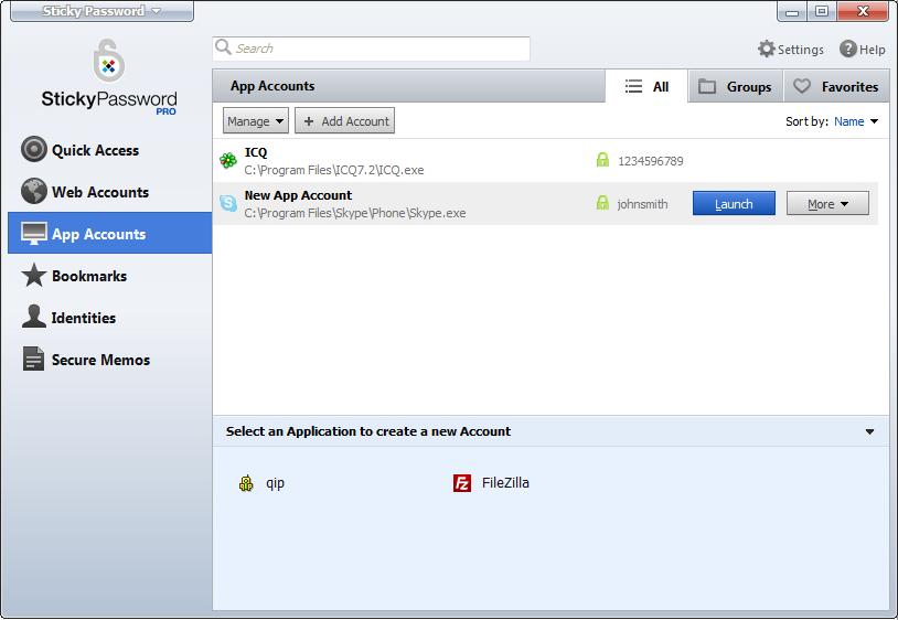 Sticky Password, Access Restriction Software Screenshot