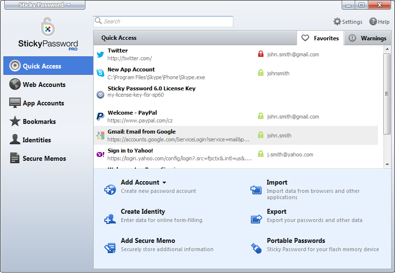 Security Software, Sticky Password Screenshot