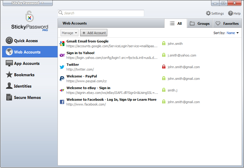 Sticky Password, Security Software Screenshot