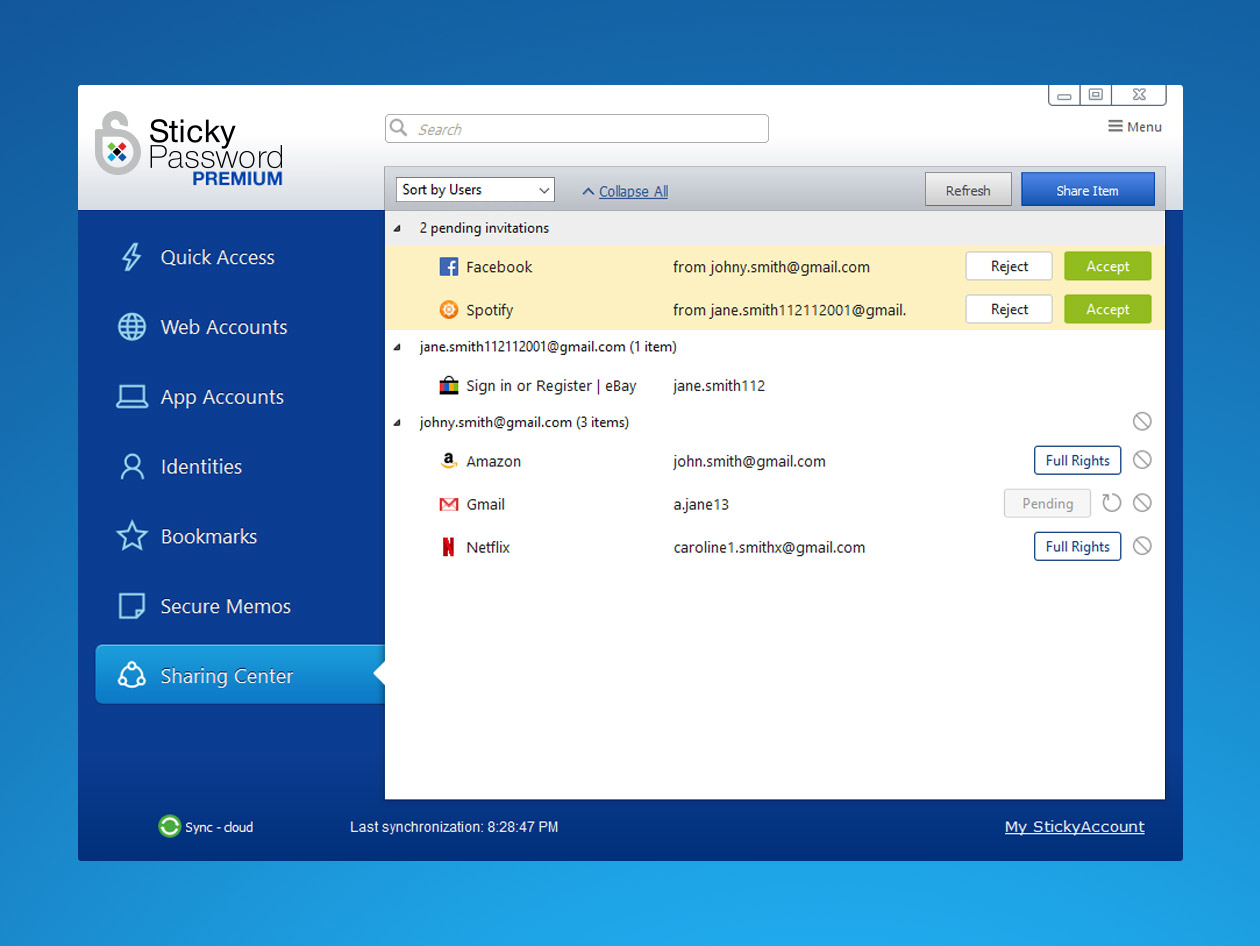 Sticky Password Premium, Security Software Screenshot