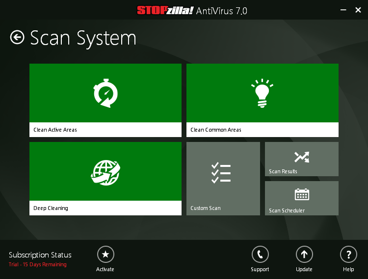 STOPzilla AVM, Security Software Screenshot