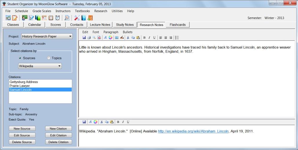 Student Organizer, Productivity Software Screenshot