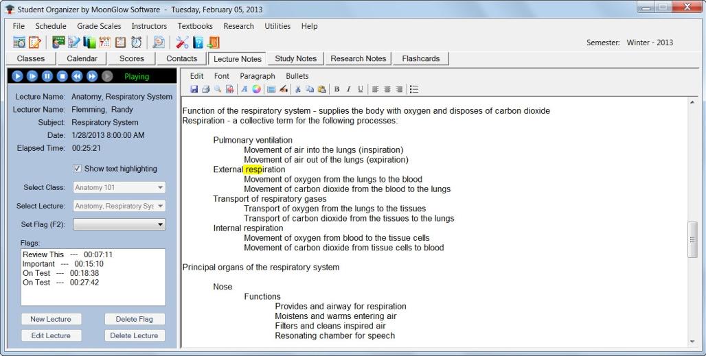 Student Organizer, Organization Software Screenshot