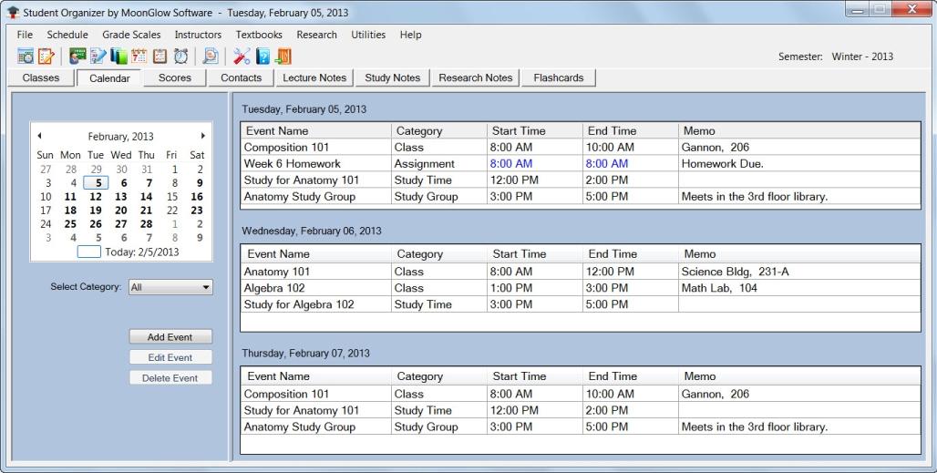 Organization Software, Student Organizer Screenshot