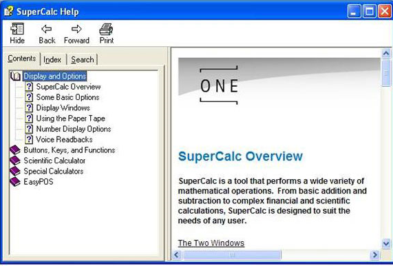 SuperCalc, Productivity Software Screenshot