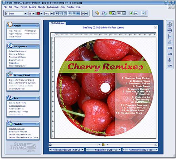 SureThing CD/DVD Labeler Deluxe Edition Screenshot