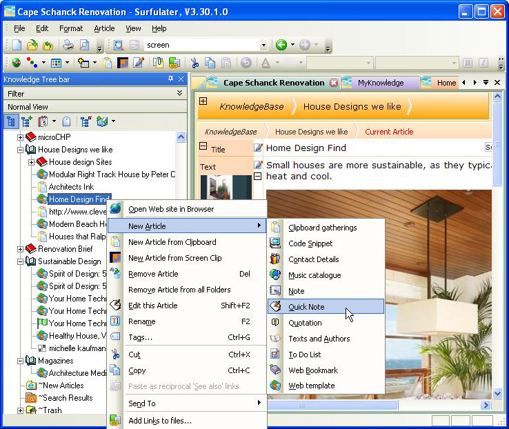 Surfulater, Internet Software, Web Research Software Screenshot