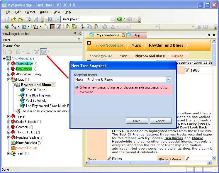 Web Research Software, Surfulater Screenshot