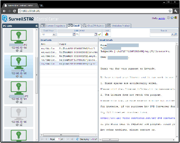 Surveilstar Any Parental Control, Security Software Screenshot