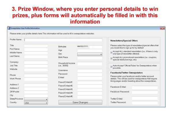 Sweepstakes Ninja, Business Management Software Screenshot