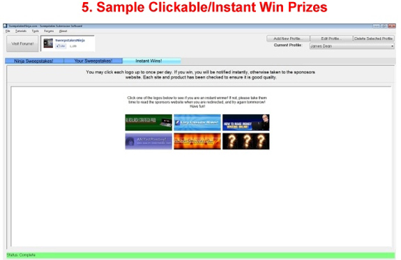 Lifestyle Software, Sweepstakes Ninja MILLIONAIRES! Bundle Package Screenshot
