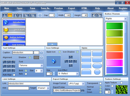SWiJ Web Buttons Creator, Development Software Screenshot
