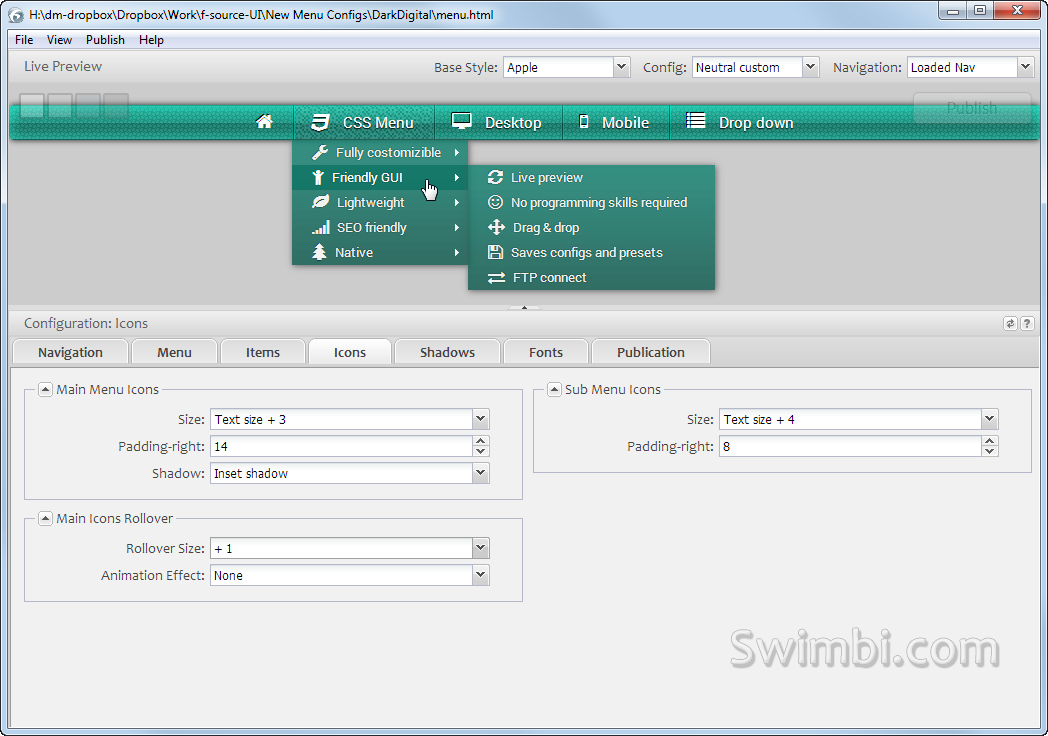 Swimbi, Web Development Software Screenshot